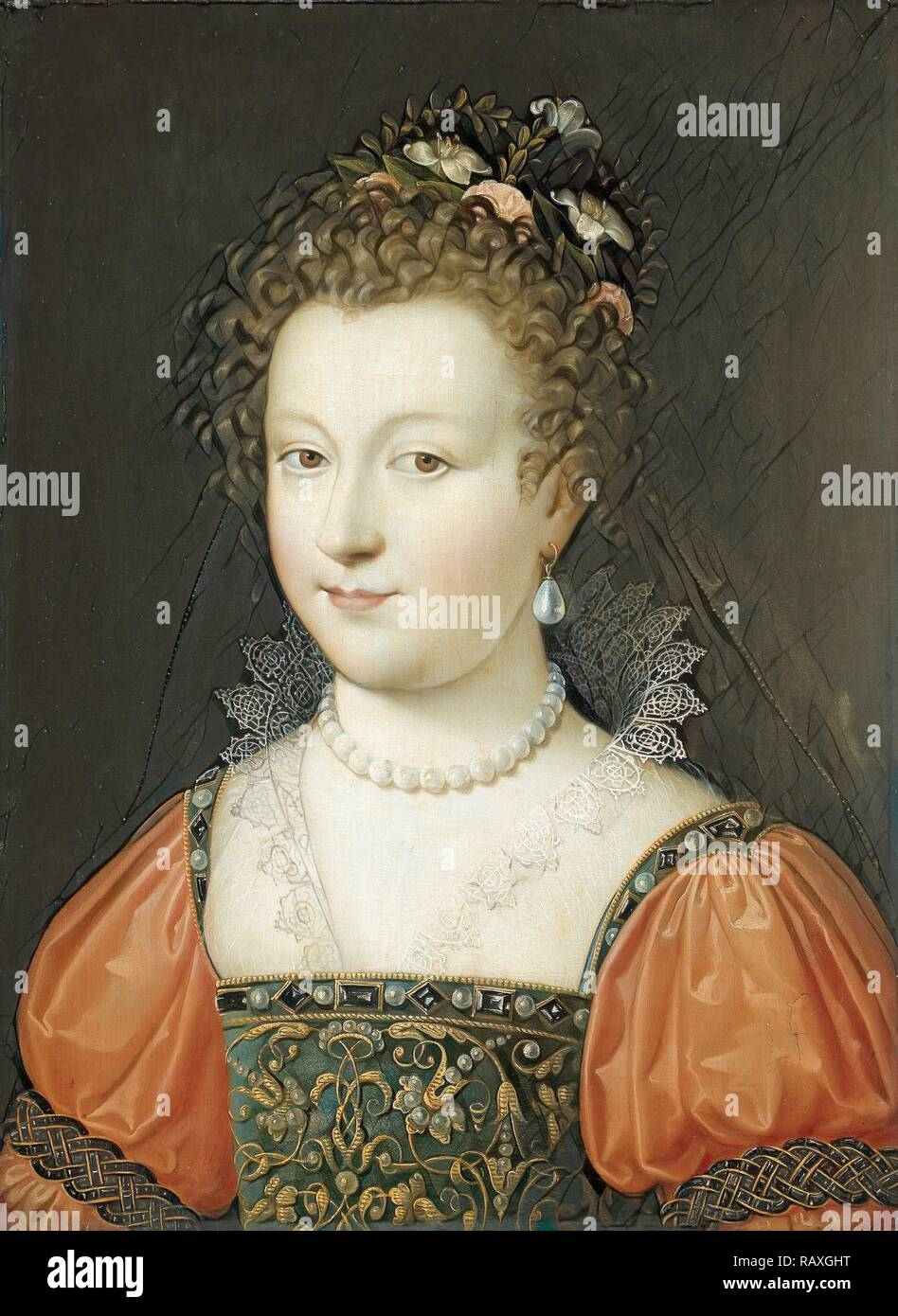 Portrait of a Woman (previously identified as Queen Elizabeth I), Anonymous, 1550 - 1574. Reimagined - Stock Image