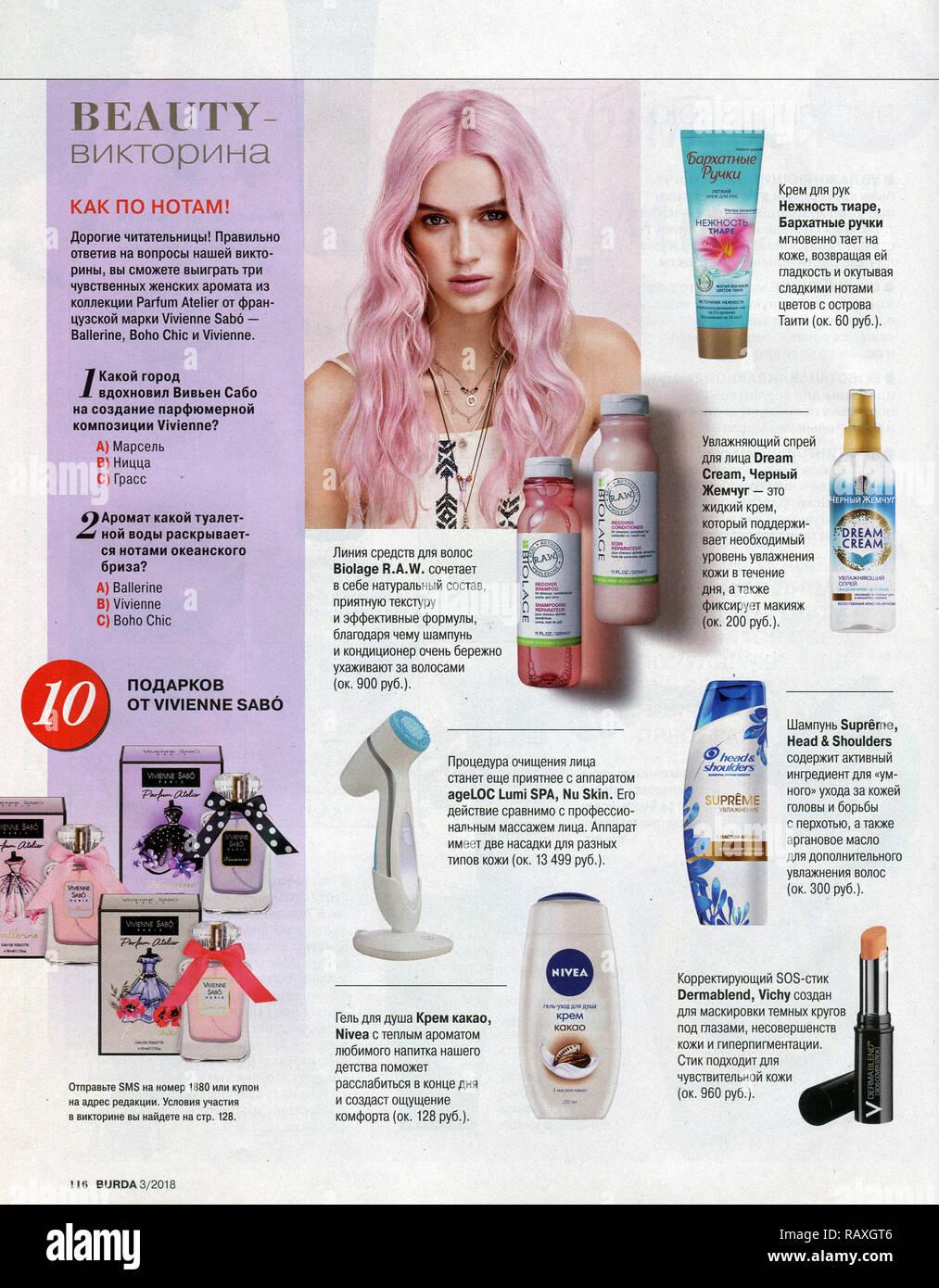 The inside of Russian magazine 'Burda'. - Stock Image
