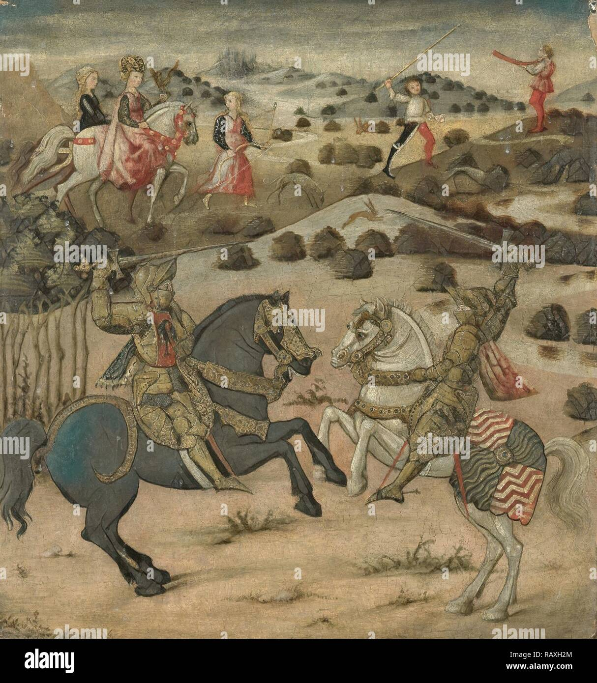 Legend of a Knight (end panel of a cassone), Anonymous, 1450 - 1474. Reimagined by Gibon. Classic art with a modern reimagined - Stock Image