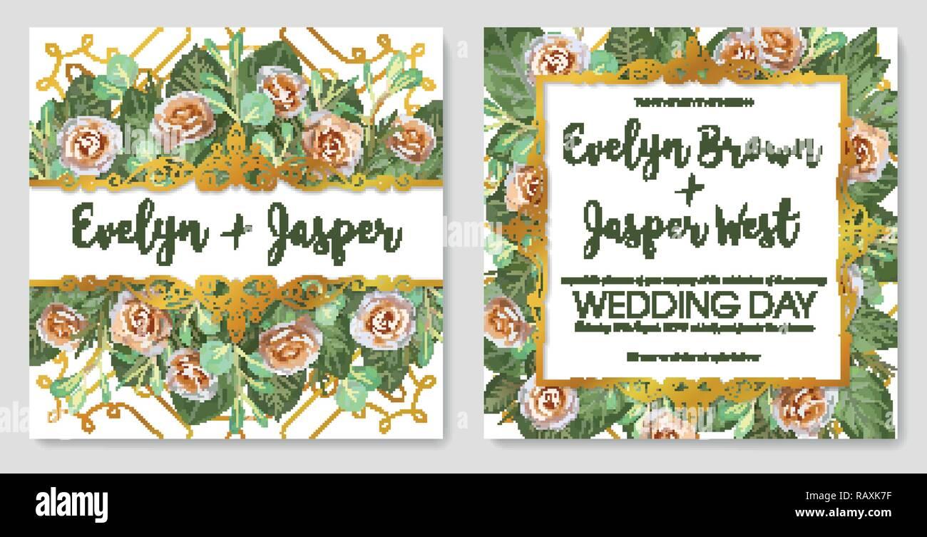 Vector Set Of Beautiful Cards Banner Wedding Invitation