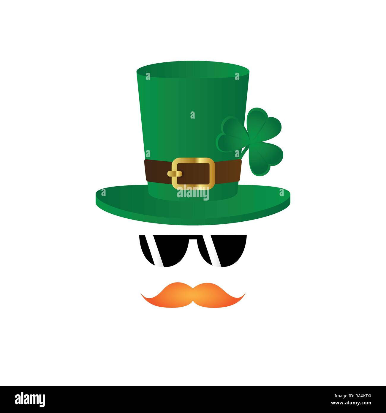 leprechaun character face red beard and hat with clover and sunglasses on white background vector illustration EPS10 - Stock Image