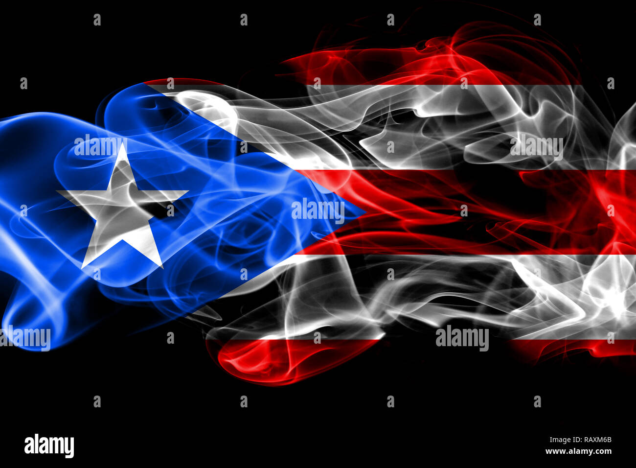 National Flag Of Puerto Rico Made From Colored Smoke Isolated On