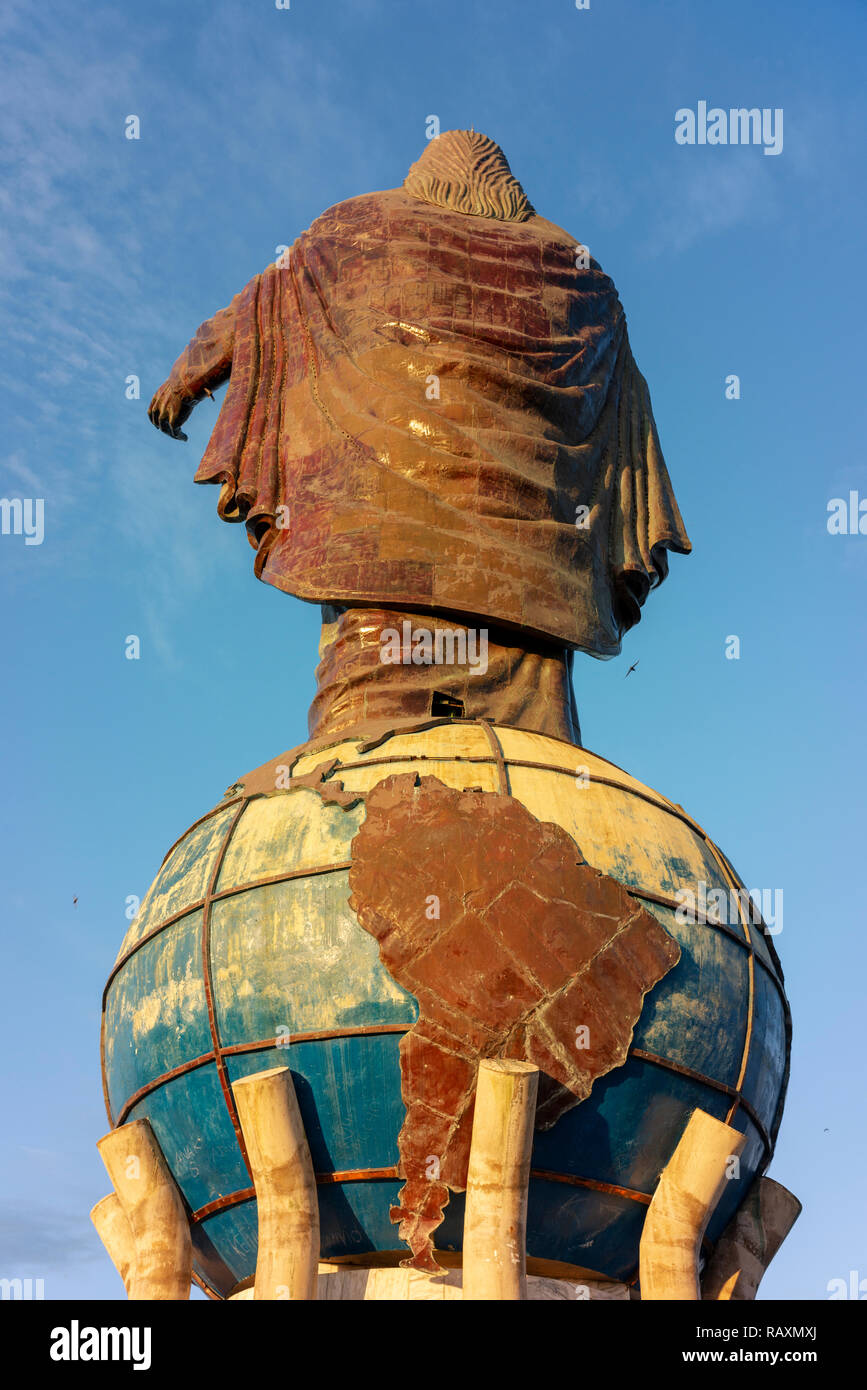 Cristo Rei of Dili, a large statue of Jesus, looks out to sea near Timor Leste's capital. Stock Photo