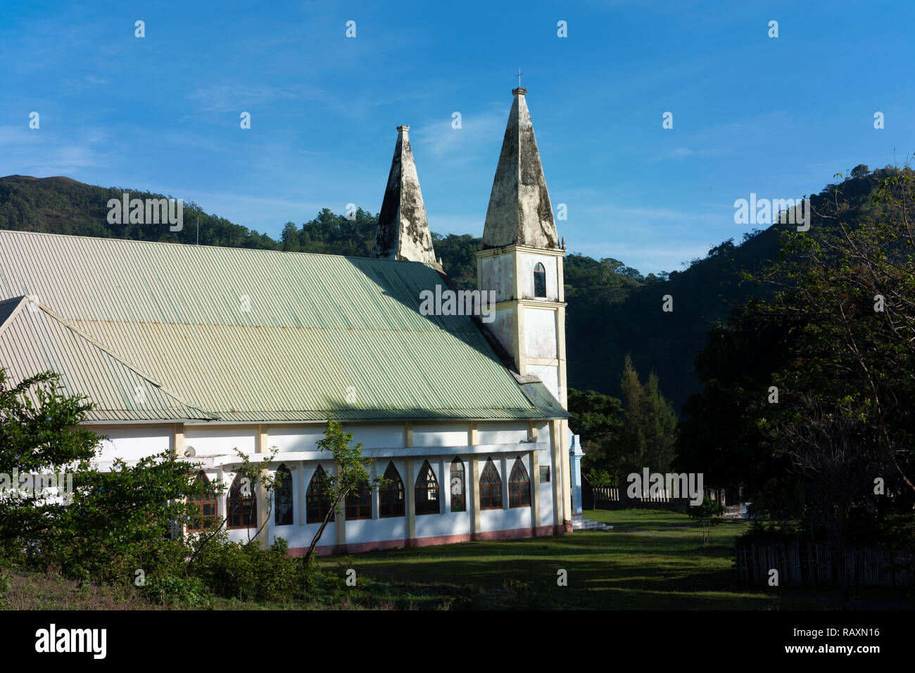 A Portuguese church high in the mountains in central Timor Leste. - Stock Image