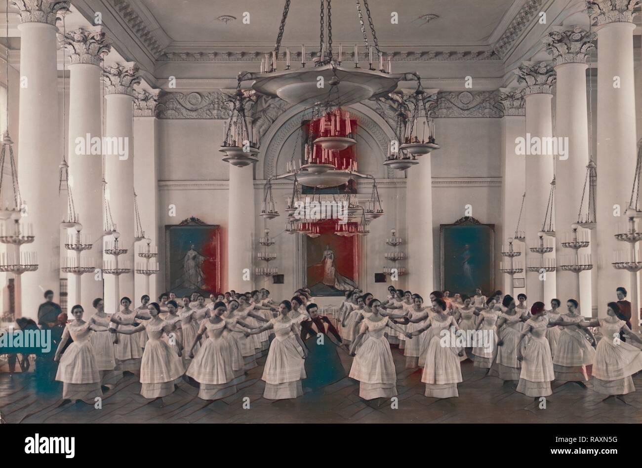 Dancing Lesson, the 'Mazurka'., Karl Karlovitz Bulla, Russian, 1854 - 1929, before 1917, Gelatin silver print, Image reimagined - Stock Image