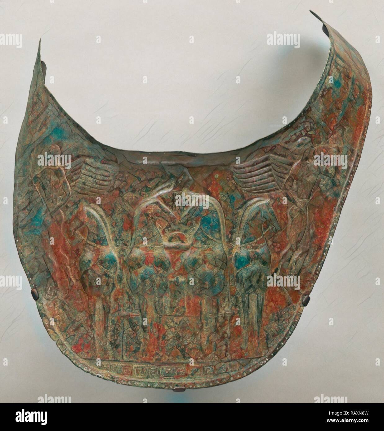 Breastplate, Unknown, South Italy, Europe, about 480 B.C., Bronze, Object: W: 25 cm (9 13/16 in.). Reimagined - Stock Image