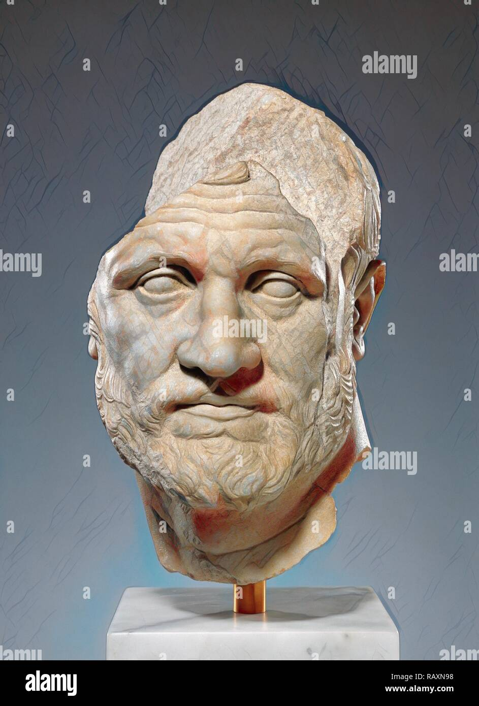 Portrait of a Bearded Man, Unknown, Pergamon, Asia Minor, 160 - 150 B.C., Marble, Object: H: 40.7 x W: 25 x D: 31.7 reimagined - Stock Image