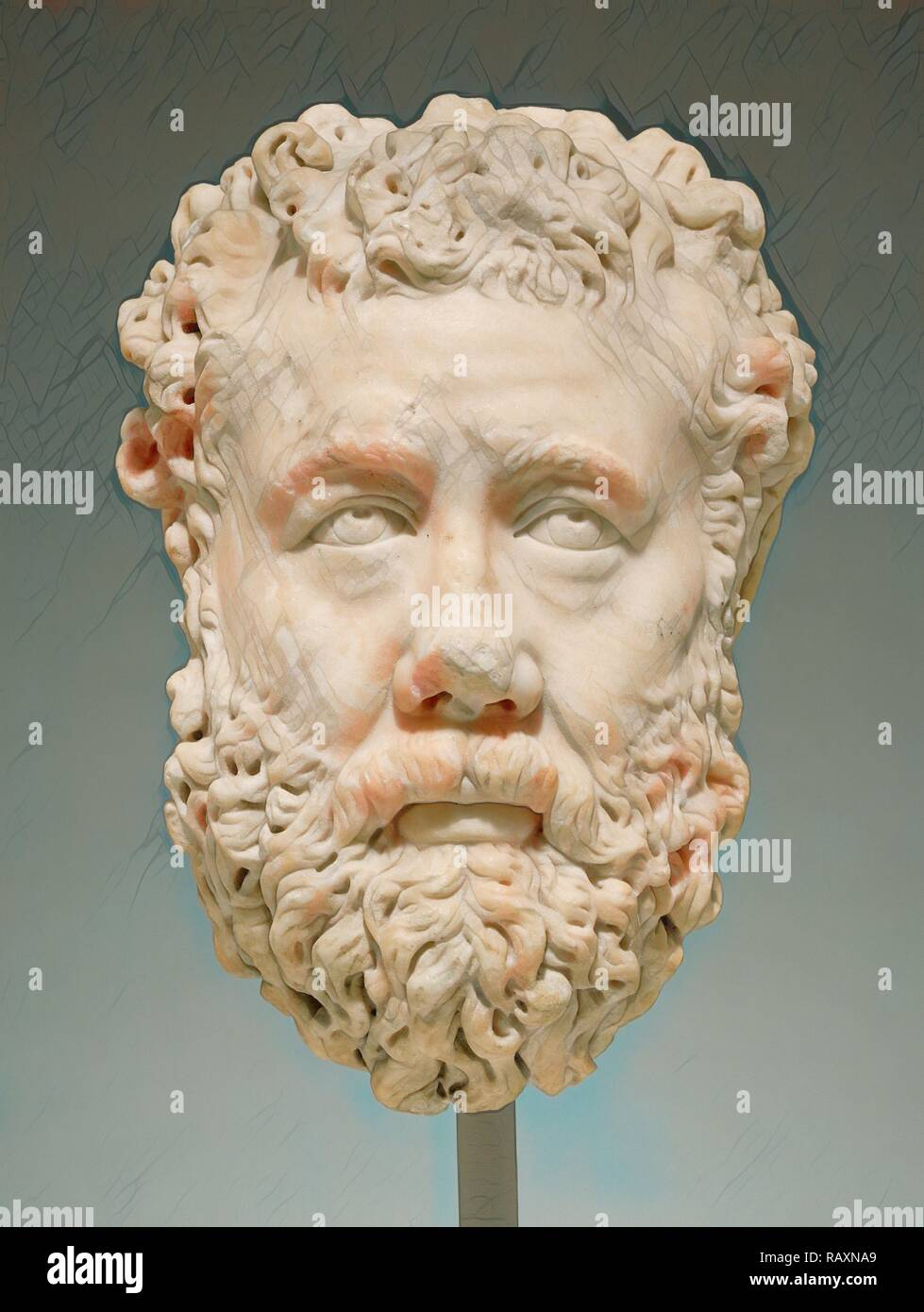 Portrait of a Bearded Man, Unknown, Greece (?), Europe, 200 - 225, Marble, Object: H: 33.4 x W: 23 cm (13 1/8 x 9 1/ reimagined Stock Photo