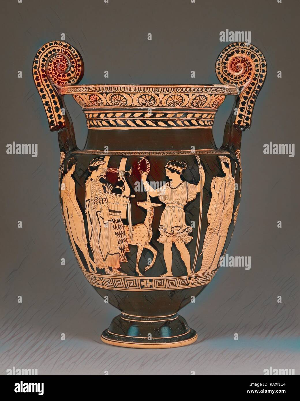 Lucanian Red-Figure Volute Krater, Attributed to the Palermo Painter, Greek (Lucanian), active about 430 - about 400 reimagined - Stock Image