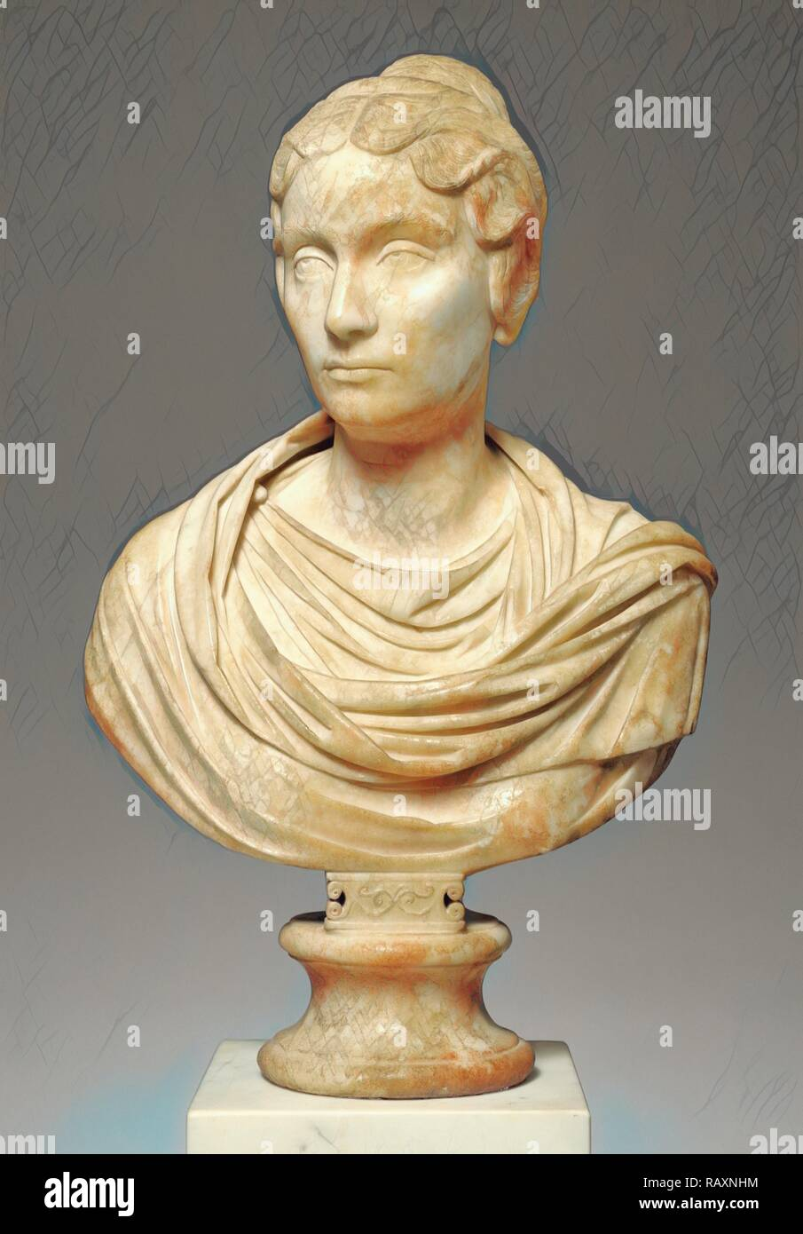 Portrait Bust of a Woman, Unknown, Rome, Italy, Lazio, Europe, 150 - 160, Marble, Object: H: 67.5 x W: 42.5 cm (26 9/ reimagined - Stock Image
