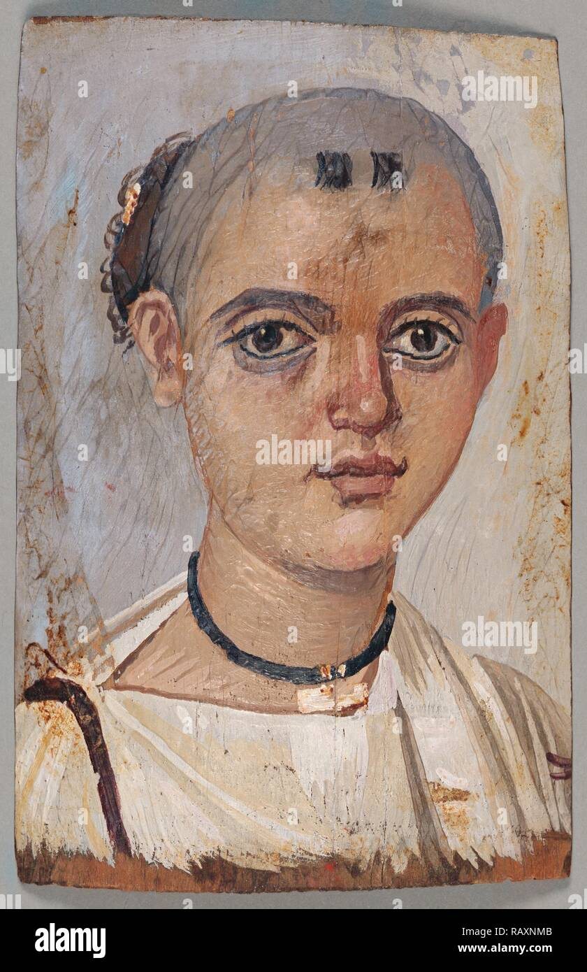 Mummy Portrait of a Youth, Unknown, Egypt, Africa, 150 - 200, Encaustic on wood, Object: H: 20.3 x W: 13 cm (8 x 5 1/ reimagined - Stock Image