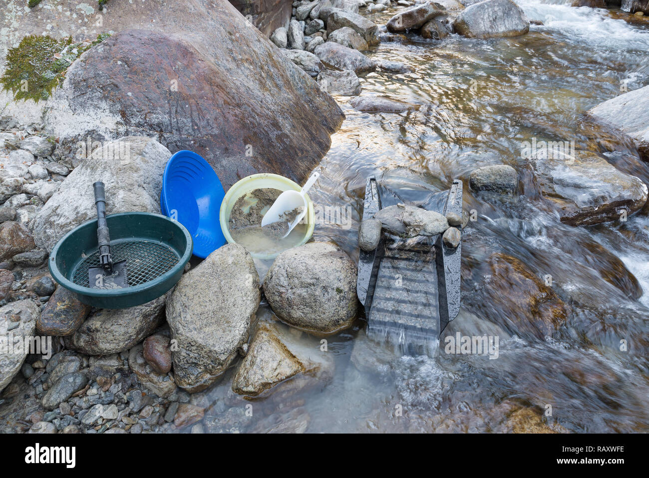 Equipment for manual prospecting of alluvial gold Stock Photo