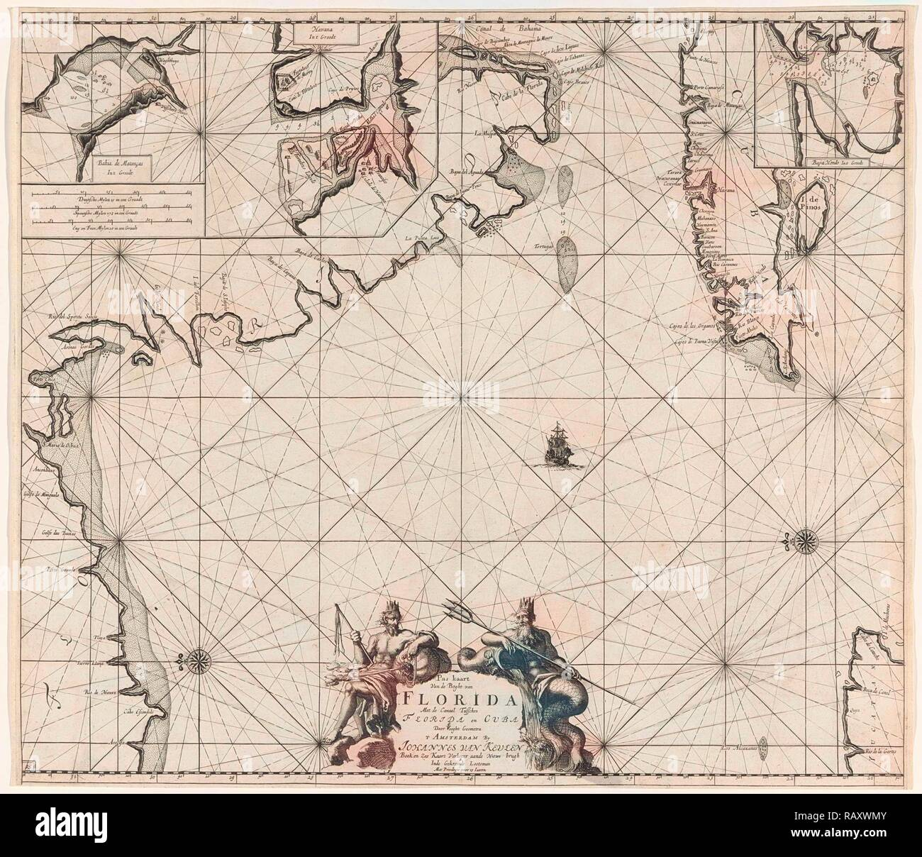 Sea chart of part of the Gulf of Mexico, with the coast of Florida, Jan Luyken, Claes Jansz Voogt, Johannes van reimagined - Stock Image