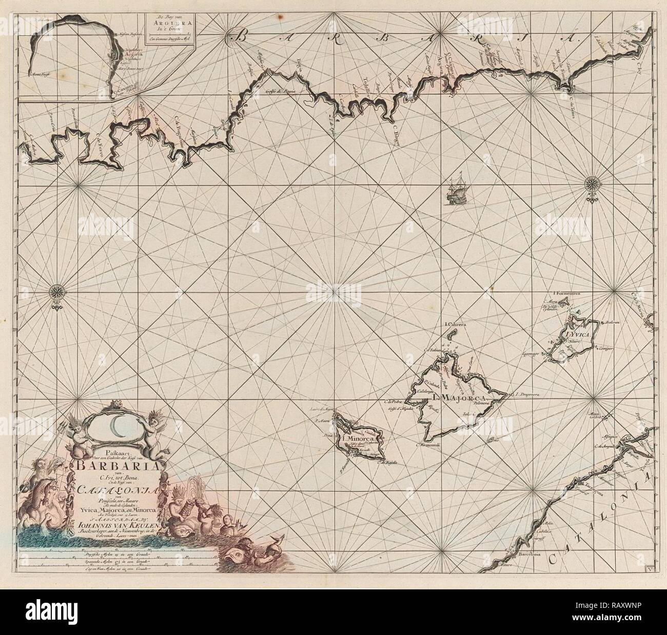 Sea chart of a part of the Mediterranean Sea with the coasts of Spain and Algeria, Anonymous, Johannes van Keulen (I reimagined - Stock Image