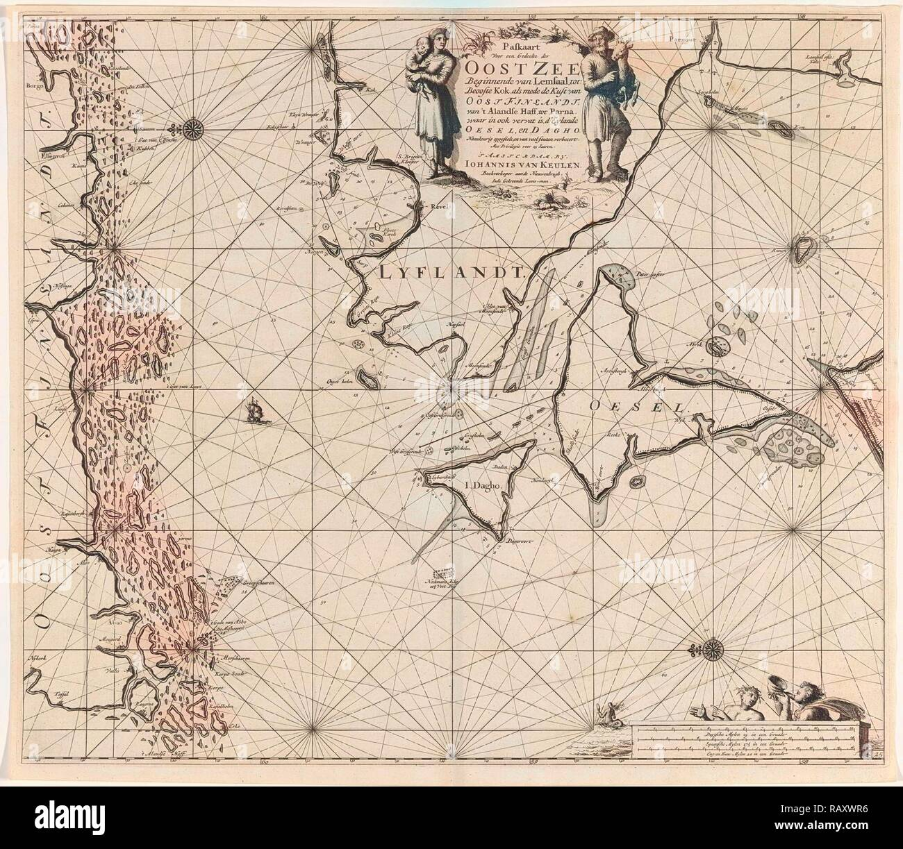 Sea chart of the mouth of the Gulf of Finland in the Baltic Sea, Jan Luyken, Johannes van Keulen (I), unknown, 1681 reimagined - Stock Image