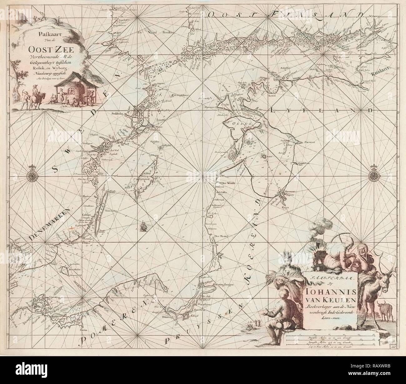 Sea chart of the Baltic Sea from Rostock to Vyborg, Jan Luyken, Johannes van Keulen (I), unknown, 1681 - 1799 reimagined Stock Photo