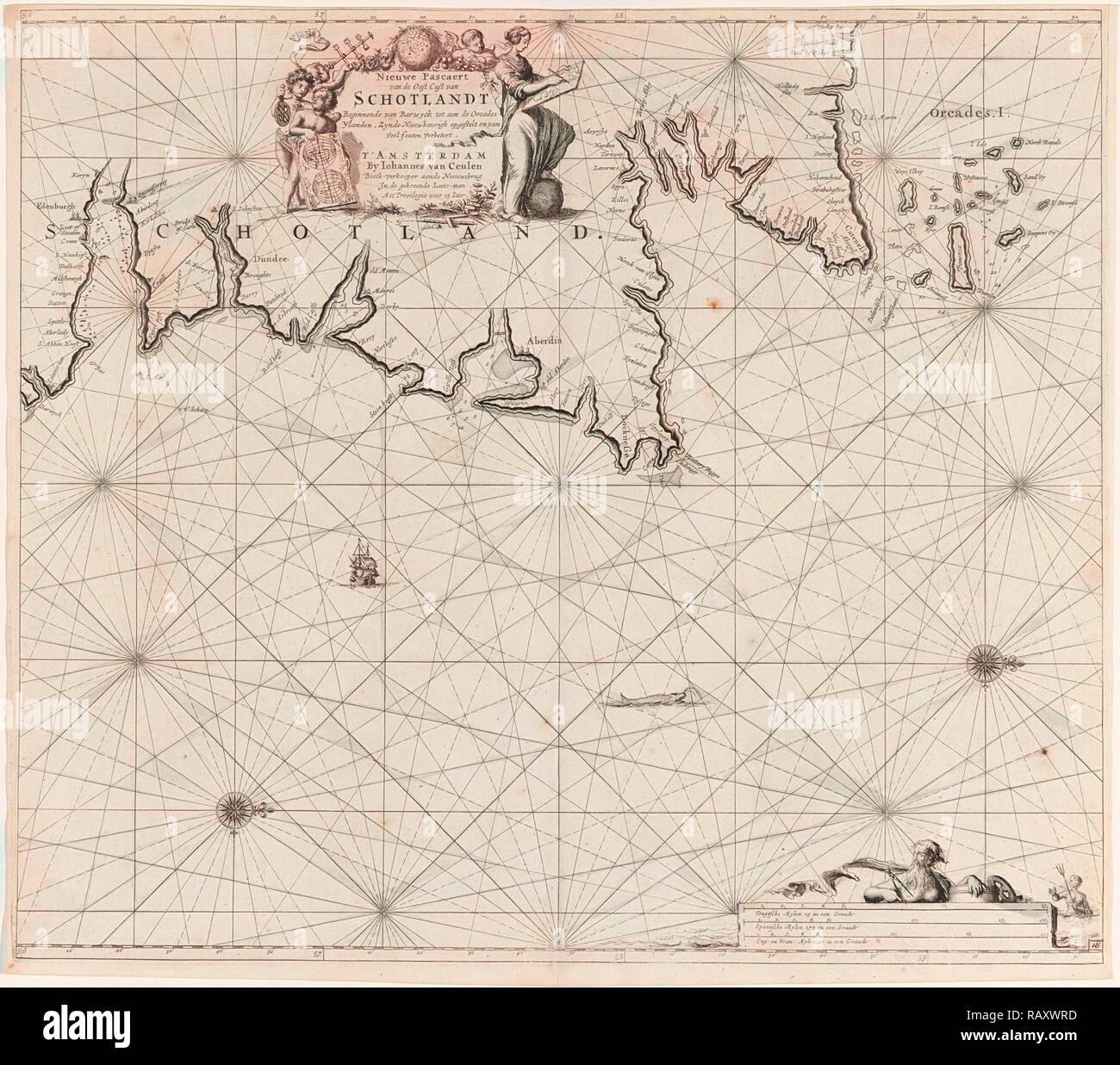Sea chart of part of north east coast of Scotland and the Orkney Islands, Jan Luyken, Johannes van Keulen I, unknown reimagined - Stock Image