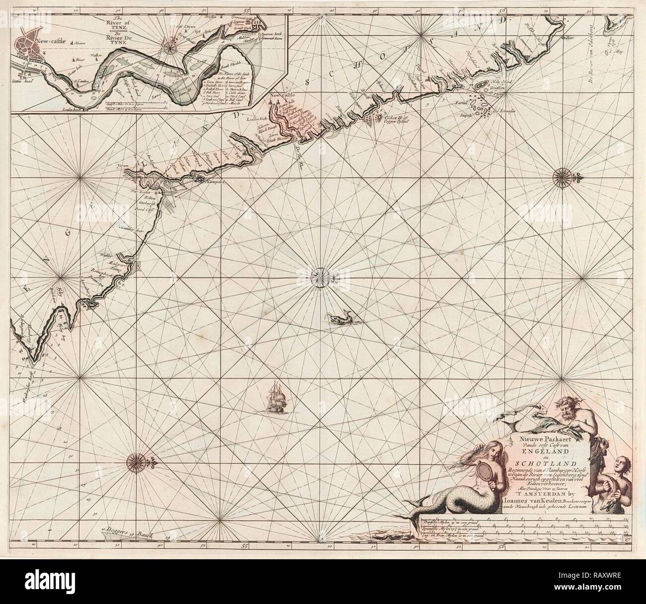 Sea chart of part of the northeast coast of England and part of Scotland, Jan Luyken, Johannes van Keulen (I reimagined - Stock Image