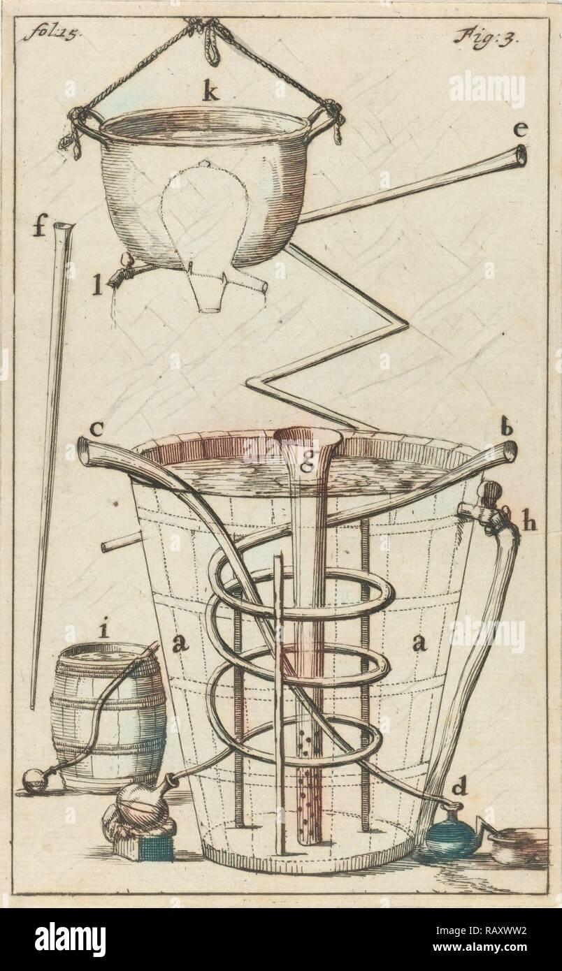 distiller with indications AK, Jan Luyken, Jan Claesz ten Hoorn, 1689. Reimagined by Gibon. Classic art with a modern reimagined - Stock Image