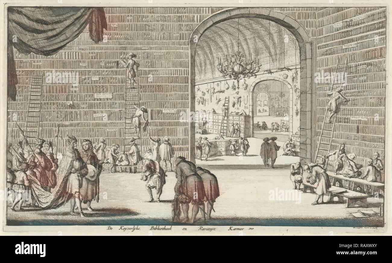 Imperial library and curiosities, print maker: Jan Luyken, Jan Claesz ten Hoorn, 1682. Reimagined by Gibon. Classic reimagined - Stock Image