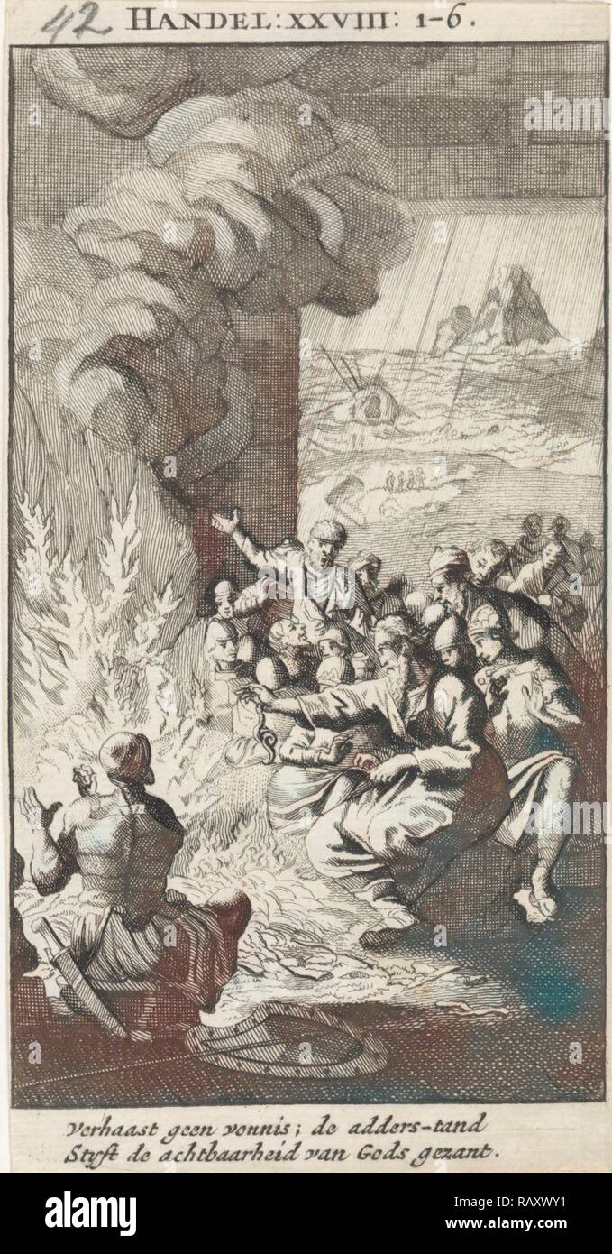 Paul shakes the snake off into the fire, Jan Luyken, Anonymous, 1712. Reimagined by Gibon. Classic art with a modern reimagined - Stock Image