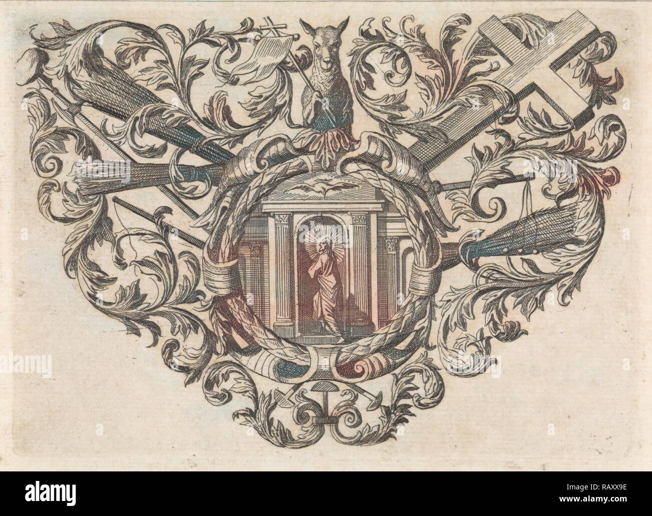 The image of Christ is contained in an ornamental frame with floral motifs and Christian symbols, print maker: Caspar reimagined - Stock Image