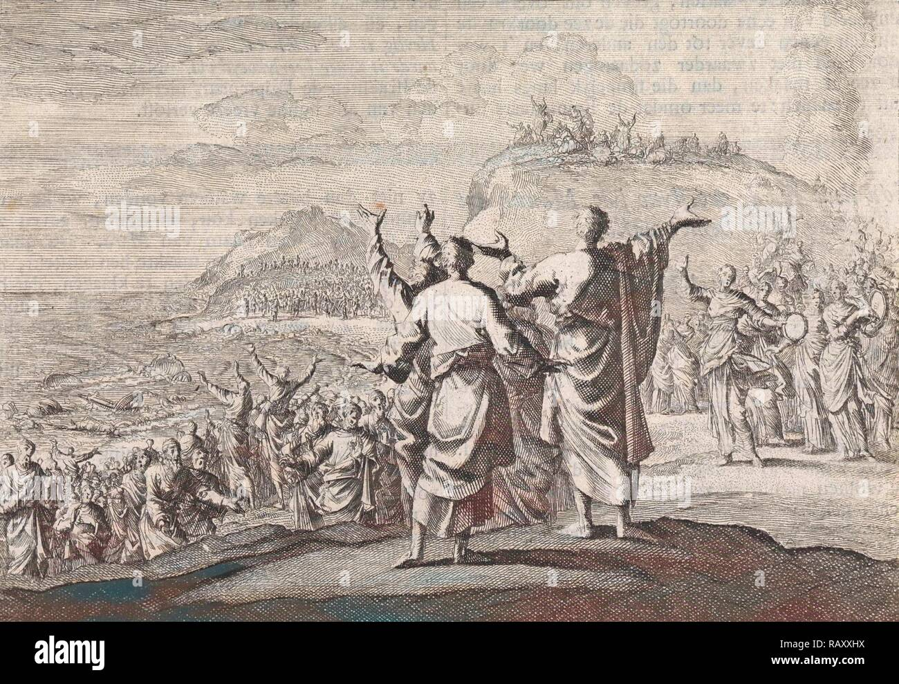 Celebrating the fall of the Egyptian army, Jan Luyken, Pieter Mortier, 1703 - 1762. Reimagined by Gibon. Classic art reimagined - Stock Image