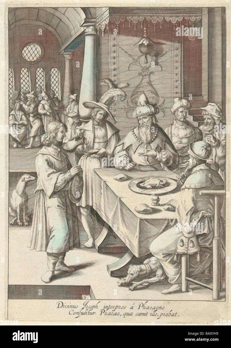 Joseph interprets the dreams of Pharaoh, print maker: Robert de Baudous, Lucas van Leyden, 1591 - 1659. Reimagined - Stock Image