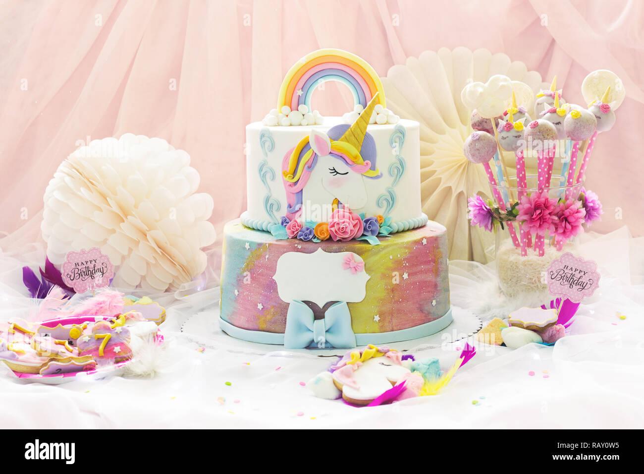 Marvelous Little Girls Birthday Party Dessert Table With Unicorn Cake Funny Birthday Cards Online Alyptdamsfinfo
