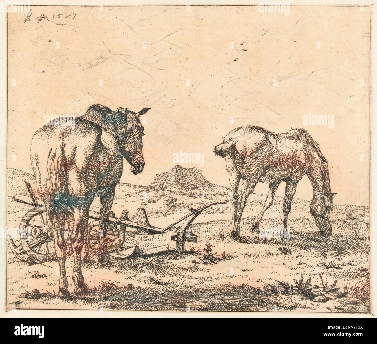 Two Horses And A Plow Karel Dujardin 1657 Reimagined By Gibon Classic Art With A Modern Twist Reimagined Stock Photo Alamy