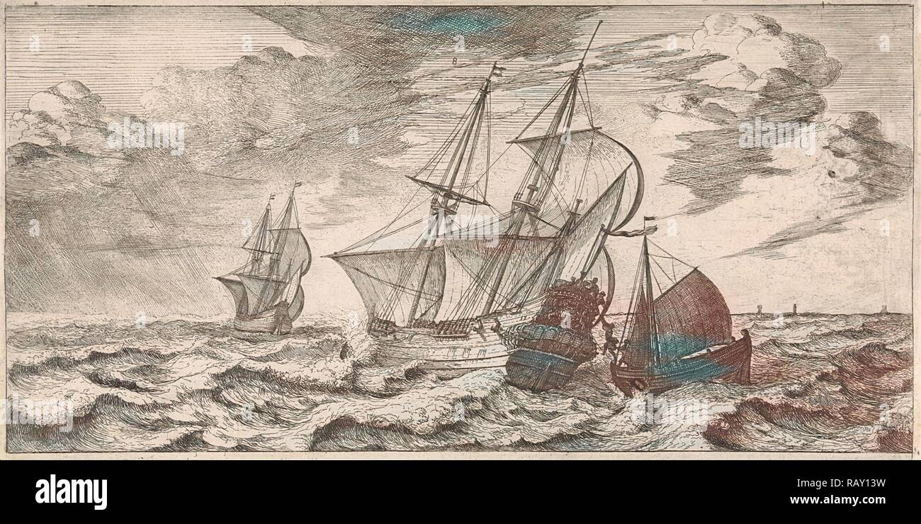 A pilot is taken at sea aboard from a pilot boat, print maker: Joost van Geel (attributed to), Dating 1665 reimagined - Stock Image
