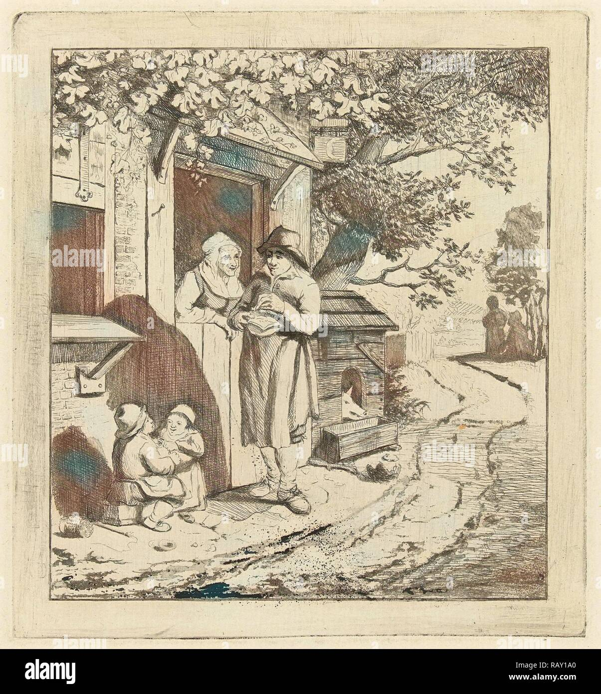 Man at the door of an inn, Marie Lambertine Coclers, 1776 - 1815. Reimagined by Gibon. Classic art with a modern reimagined - Stock Image