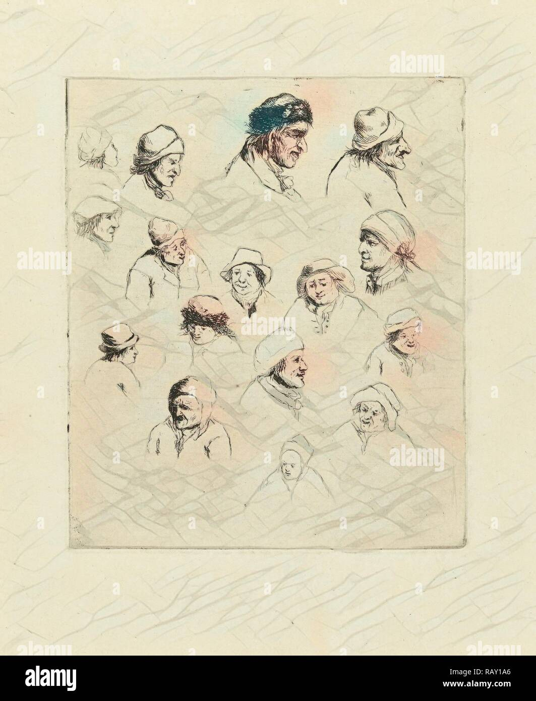 Study Journal sixteen heads, Marie Lambertine Coclers, 1776 - 1815. Reimagined by Gibon. Classic art with a modern reimagined - Stock Image