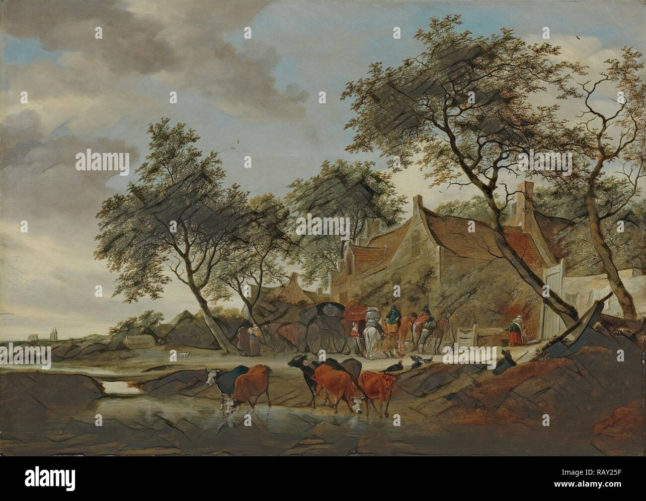 The watering place, Salomon van Ruysdael, 1660. Reimagined by Gibon. Classic art with a modern twist reimagined Stock Photo