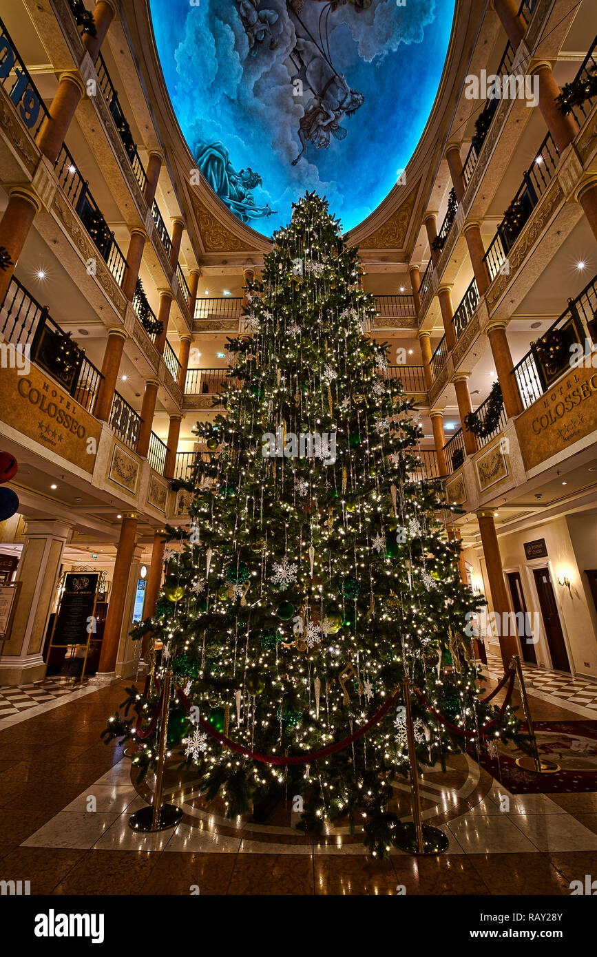 Hotels Christmas Decorations Night Roads Europa-Park Germany - Stock Image