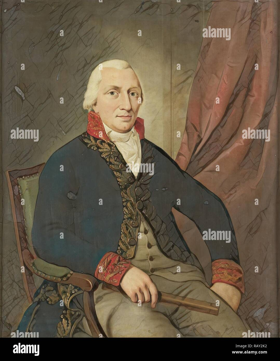 Portrait of Albertus Henricus Wiese, Governor-General of the Dutch East Indies, attributed to Adriaan de Lelie, 1805 reimagined - Stock Image