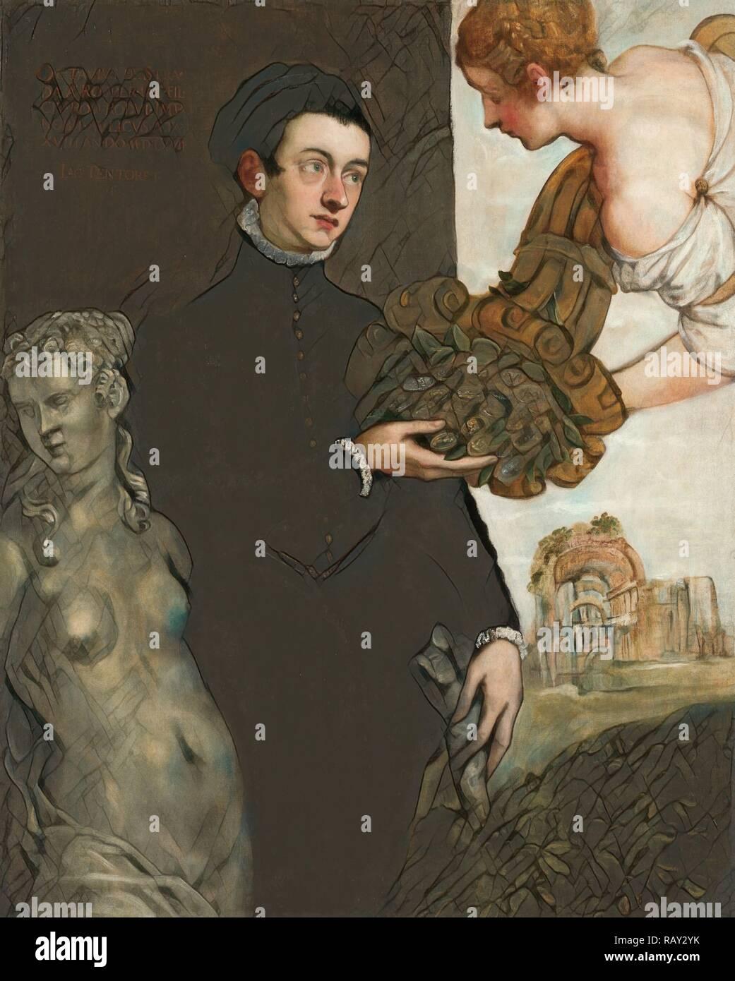 Portrait of Ottavio Strada, Jacopo Tintoretto, 1567. Reimagined by Gibon. Classic art with a modern twist reimagined Stock Photo