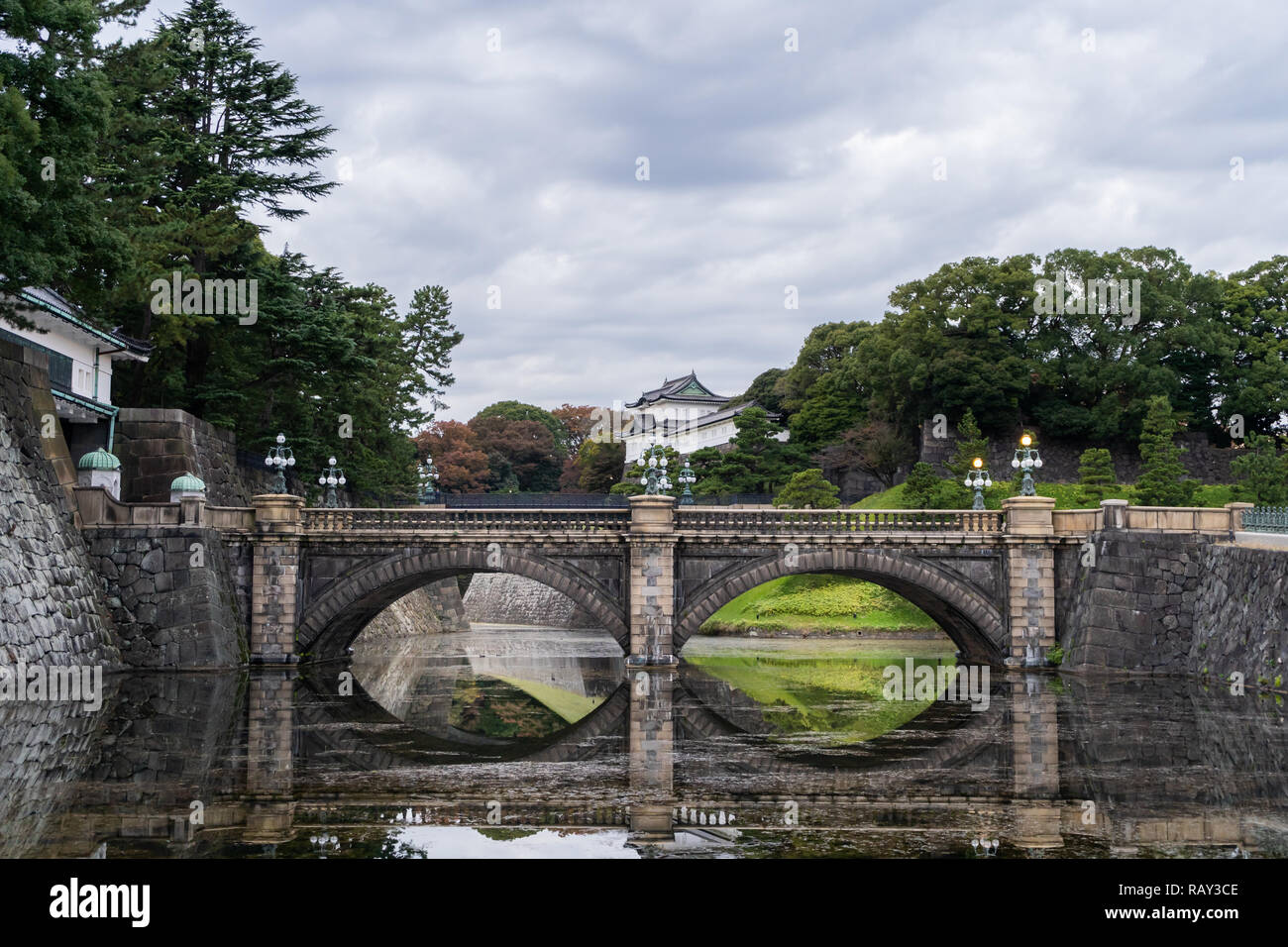 Nijubashi bridge inside The Imperial Palace, Tokyo, Japan. - Stock Image