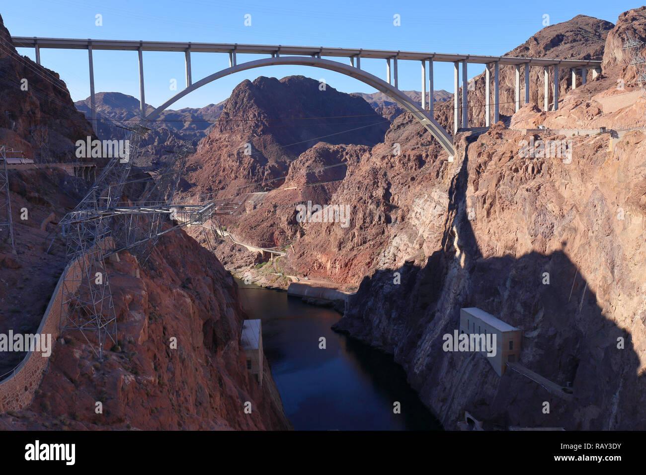 Memorial Bridge at Lake Mead, Nevada, USA Stock Photo