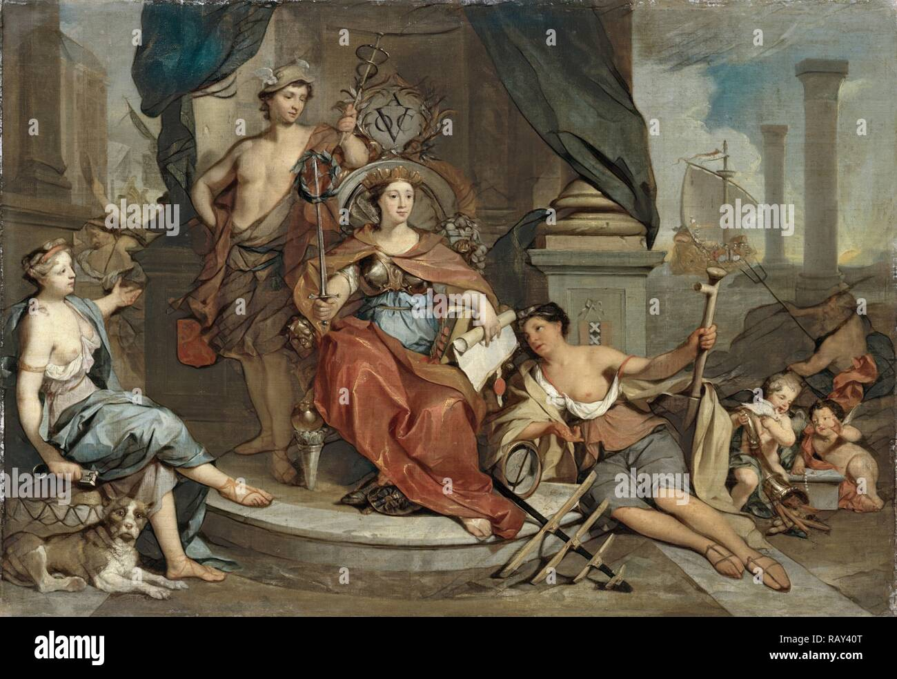 Apotheosis of the Dutch East India Company, Allegory of the Amsterdam Chamber of Commerce of the VOC, Nicolaas reimagined - Stock Image