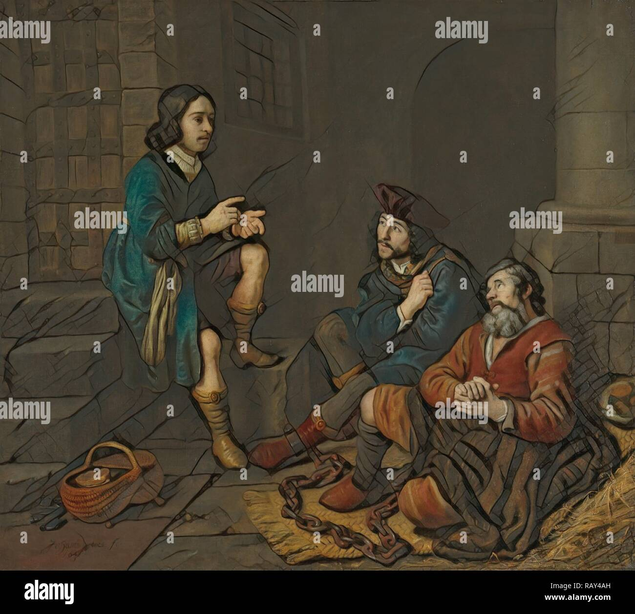 Joseph Interprets the Dreams of the Baker and the Butler, Jan Victors, 1648. Reimagined by Gibon. Classic art with a reimagined - Stock Image