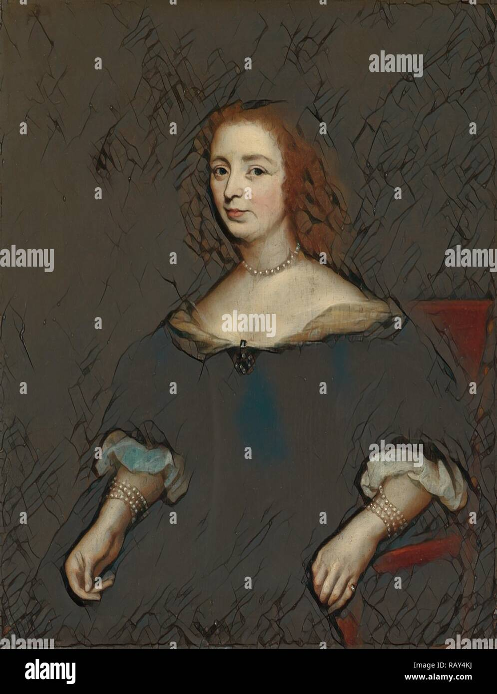 Portrait of Anna van den Corput, Wife of Jacob de Witt, copy after Anonymous, 1630 - before 1645. Reimagined - Stock Image
