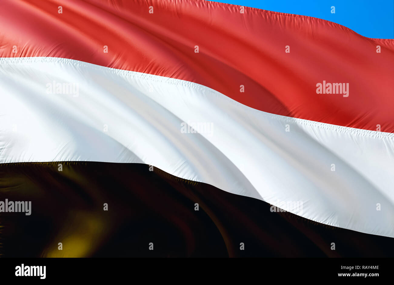 Yemen flag. 3D Waving flag design. The national symbol of Yemen, 3D rendering. National colors and National flag of Yemen for a background. Middle Eas Stock Photo