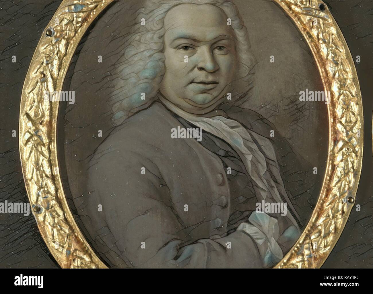 Portrait of Theodoor van Snakenburg, Jurist and Poet in Leiden, Hieronymus van der Mij, 1743. Reimagined - Stock Image