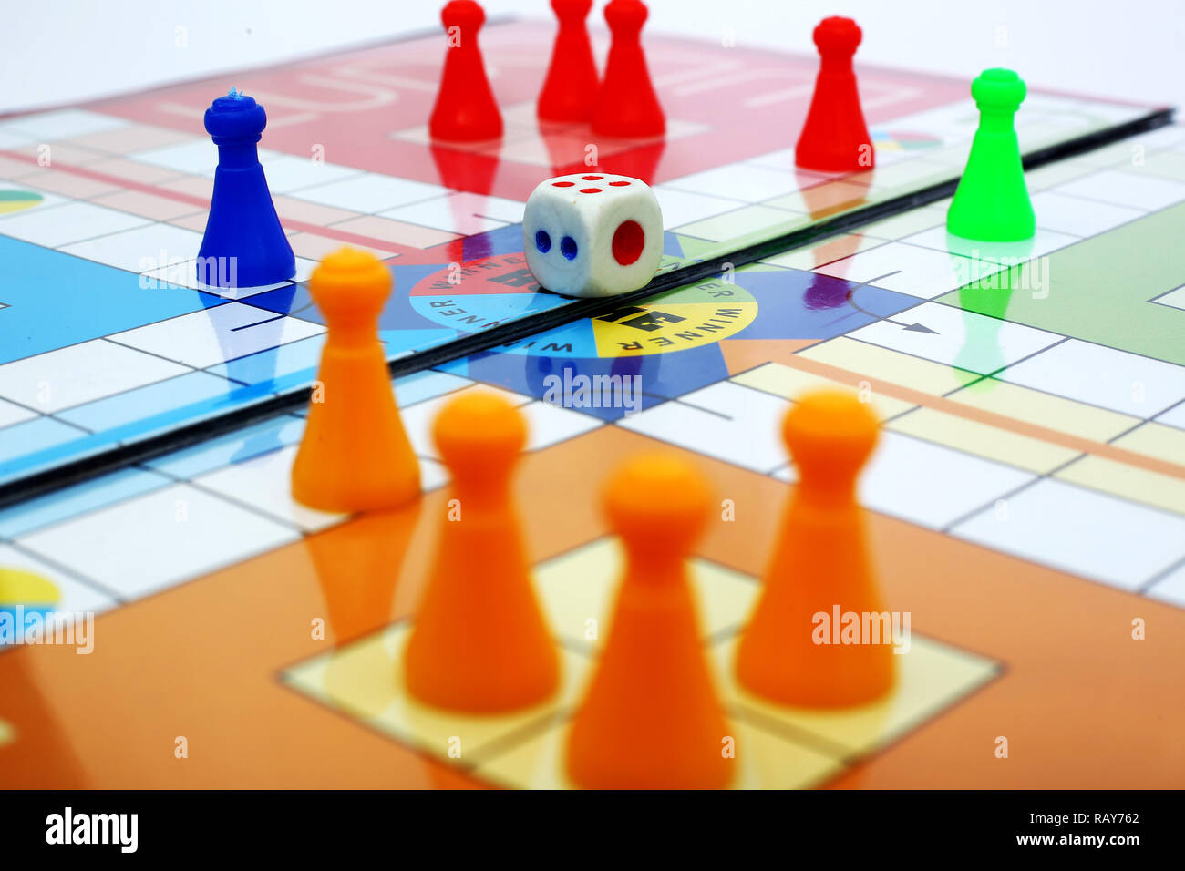 Picture of playing ludo game with dice. Stock Photo