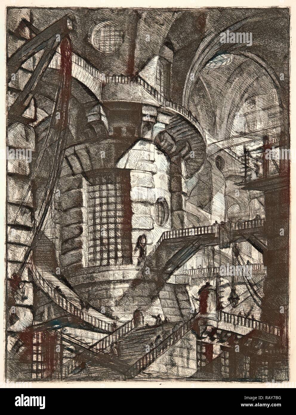 Giovanni Battista Piranesi (Italian, 1720 - 1778). The Round Tower, 1761. From Carceri d'Invenzione di G. Battista reimagined - Stock Image