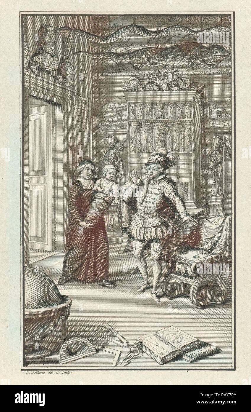 A nobleman and a cleric with a child in a cabinet of curiosities, Jacob Folkema, 1702-1767. Reimagined - Stock Image