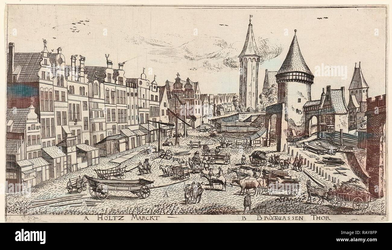 In and around the city of Danzig Series of 14 numbered prints, Aegidius Dickmann, Frederik de Wit, 1605 - 1705 reimagined Stock Photo