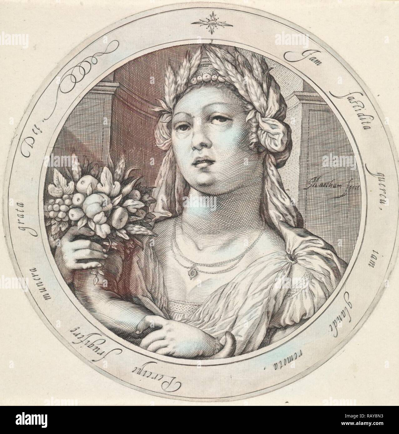 Ceres with cornucopia, Jacob Matham, 1599 - 1600. Reimagined by Gibon. Classic art with a modern twist reimagined - Stock Image