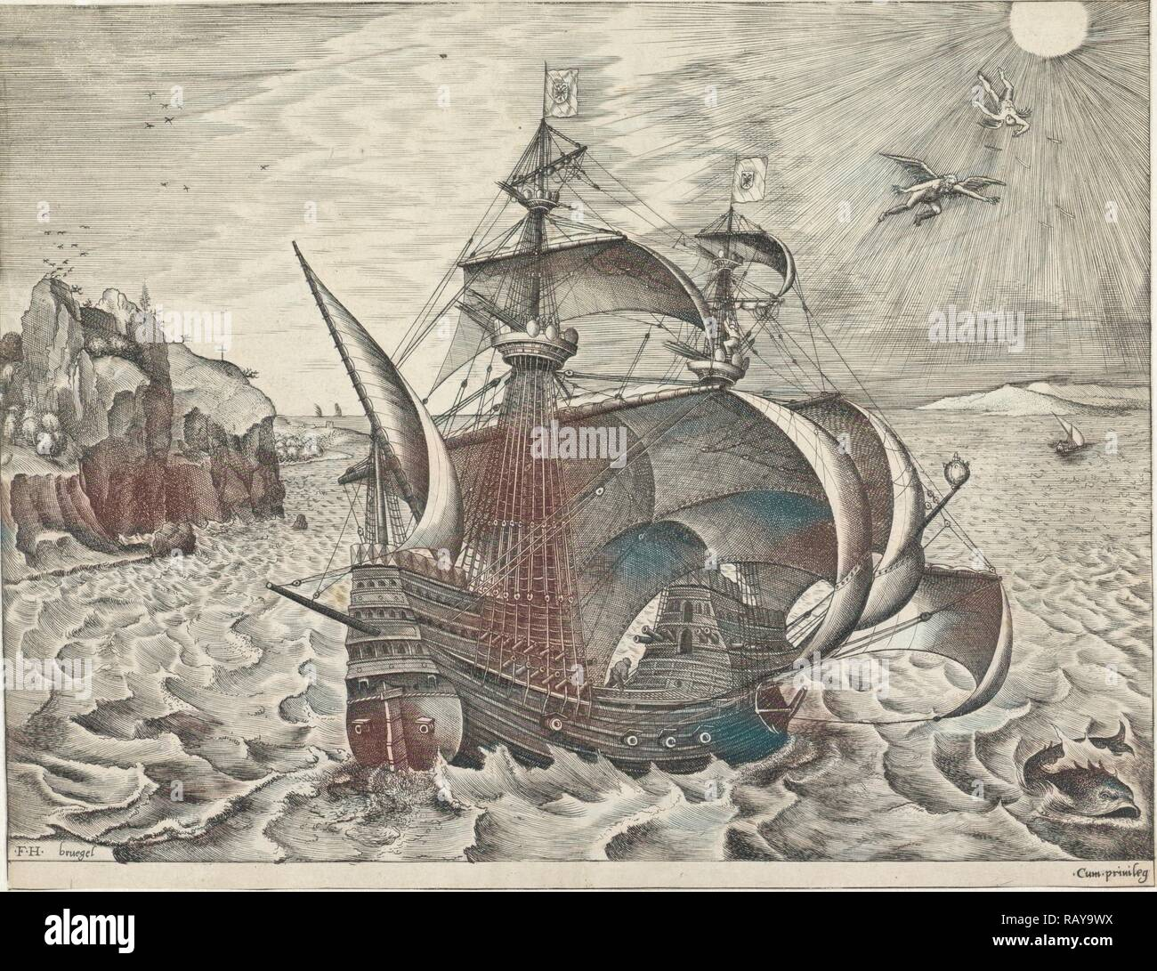 Sailing ship with the Fall of Icarus, Frans Huys, unknown, 1561-1565. Reimagined by Gibon. Classic art with a modern reimagined - Stock Image